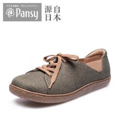Pansy日本中老年老人妈妈女春秋平底舒适系带森系大码单鞋PS1419