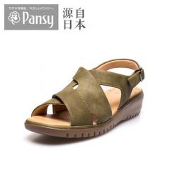 Pansy日本2018新款夏软底防滑中老年老人妈妈轻便坡跟女凉鞋BB5500