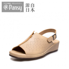 Pansy日本2018新款女夏中老年老人妈妈搭扣防滑中跟凉鞋BB5941