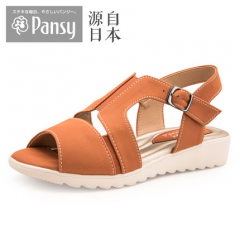 Pansy日本夏季女软底低跟大码中老年老人妈妈防滑搭扣皮凉鞋BB5492