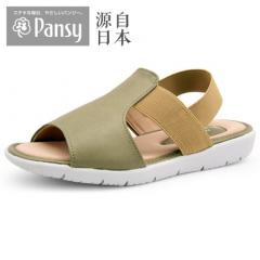 Pansy日本中老年妈妈夏季女鞋平跟防滑松紧带凉鞋BB5203