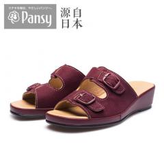 Pansy日本专柜同款夏时尚轻便百搭中跟沙滩女室外休闲凉拖鞋9061