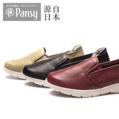 Pansy日本妈妈鞋春夏中老年女士休闲鞋平跟一脚蹬单鞋PS1466