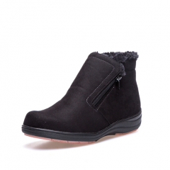 Pansy日本冬季女士保暖短靴 侧拉链防水加厚大码加肥防滑雪地靴4582