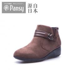 Pansy日本春秋季绒面坡跟低跟拉链搭扣女士时尚短靴4641