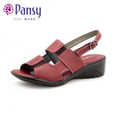 Pansy日本春夏季新款女坡跟中跟软底防滑搭扣轻便凉鞋5474