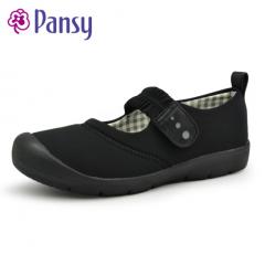 Pansy春秋女士室外穿护理平跟圆头布面防滑单鞋中老年妈妈鞋7700