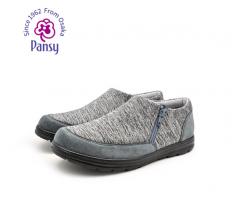 Pansy2018秋季新款男透气轻便圆头爸爸鞋中老年老人休闲鞋1024