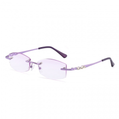 女款紫色无框老花镜眼镜