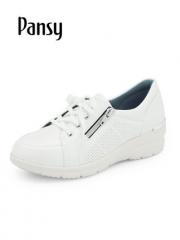 Pansy日系2019春季新款女鞋妈妈鞋系带厚底单鞋休闲轻便透气鞋7046