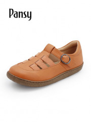 Pansy日本女鞋2019新款春夏季休闲低帮平底防滑透气包头凉鞋4495