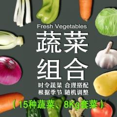 8公斤蔬菜组合(香菜、山药、娃娃菜、杏鲍菇、黄瓜、西红柿、尖椒、胡萝卜、山芹、甘蓝、金针菇 。。。)